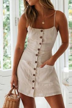 V-Neck Split Sexy Halter Mini Dress – lunseu Simple Dress Casual, Simple Dresses, Casual Dresses, Casual Outfits For Teens, Summer Outfits, Cute Outfits, Summer Dresses, Halter Mini Dress, Women's Fashion Dresses