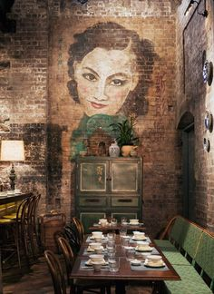 Mr Wong, Sydney. Wall painting of an Asian woman by Murray Parsonage, Kris Zimitat and Mayriel Luke of The Painted Image.