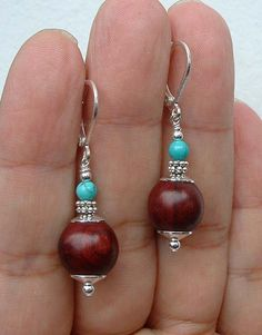 $7.0 - Pretty Red Wood W. Green Turquoise Sterling Silver Earrings A0318 #ebay #Fashion
