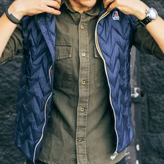 Loving this men's puffer vest! Mens Puffer Vest, Fashion 2017, Mens Fashion, Adventure Outfit, Adventure Clothing, Men's Coats And Jackets, Men Design, Men Style Tips, Street Style