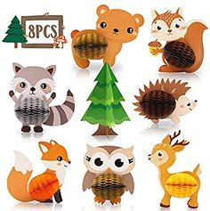 8 PCS Woodland Animals Honeycomb Centerpieces Woodland Creature Table Decorations for Woodland Baby Shower Birthday Party Decorations Supplies Party Animals, Animal Party, Woodland Creatures, Woodland Animals, Woodland Baby, Woodland Theme, Birthday Party Decorations, Baby Shower Decorations, Table Decorations