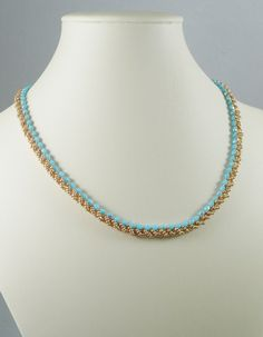 Woven Necklace in Turquoise and Gold by IndulgedGirl on Etsy