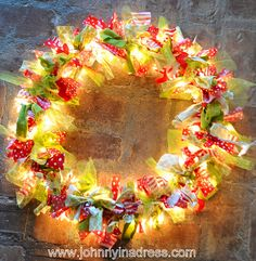 rag wreath with lights