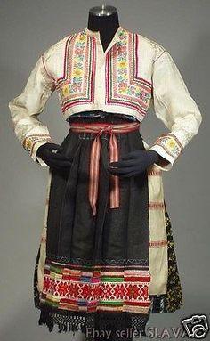 RARE Slovak Folk Costume Vazec embroidered apron blouse blueprint dress KROJ old Folk Costume, Costumes, Embroidered Apron, Dress Skirt, Blouse, Skirts, Cotton, Clothes, Dresses