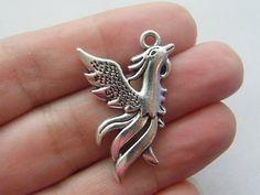 4 Phoenix pendants antique silver tone by nicoledebruin Jewelry Supplies, Lead Free, Antique Silver, Minerals, Silver Rings, Charmed, Pendants, Brooch, Phoenix