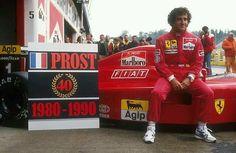 """Alain Prost #Ferrari, celebrating his 40th win (& his first for Ferrari) at Imola, 1990 San Marino GP. #Formula1 #F1"""