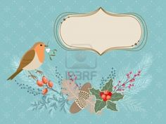 Christmas card with Robin bird, frosty garland and banner for your text. Stock Photo