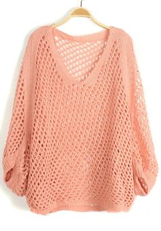 Pink Hollow-out Irregular Bat Sleeve Knit Sweater