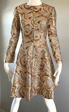 1960s Richard Tam Neiman Marcus Bronze Gold Silver Metallic Vintage A Line Dress