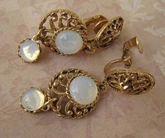Vintage Gold Tone Faux Opal Clip on Earrings  | Jewelry & Watches, Vintage & Antique Jewelry, Fine | eBay!