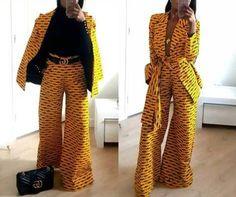 African print Ankara wide pants and blazer African jacket African duster African wax kimono and pants African Attire, African Wear, African Dress, African Fashion Ankara, African Print Fashion, African Print Pants, Ankara Clothing, Ankara Jackets, Pantalon Large