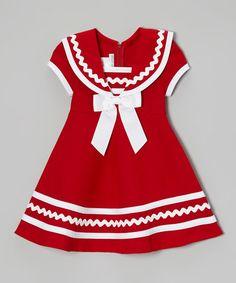 Look at this #zulilyfind! Red & White Sailor Dress - Toddler & Girls #zulilyfinds