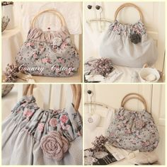 GREY (combination of floral, stripe, gingham and crocheted rose)... http://ein-stueck-garten.blogspot.com/2012/08/my-summer-shopper-bag-collection-2012.html