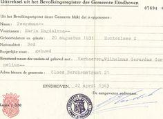 Uittreksel bevolkingsregister 1963 Eindhoven