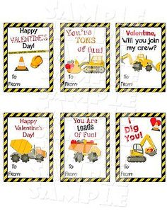 Construction Valentine's Day Cards - Printable Valentines - Construction Valentine Cards