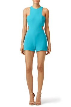 285910a901d0 Nicole Miller Turquoise Bandeau Cut Romper White Jumpsuits And Rompers