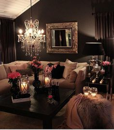 Awesome 46 Stunning Romantic Living Room Decor Ideas