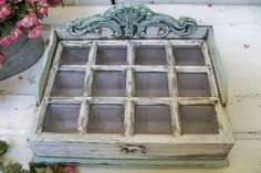 Ornate wooden display box with glass lid compartments decorative white and blue distressed Anita Spero