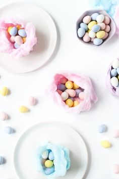 DIY Cotton Candy Nests by @brittnimehlhoff - It's like bringing the state fair straight to your Easter table.