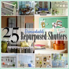 25 Repurposed Shutter Decorating Ideas - The Cottage Market Need to remember this for when we replace our shutters! Repurposed Items, Repurposed Furniture, Diy Furniture, Refurbishing Furniture, Furniture Making, Furniture Design, Diy Shutters, Repurposed Shutters, Bedroom Shutters