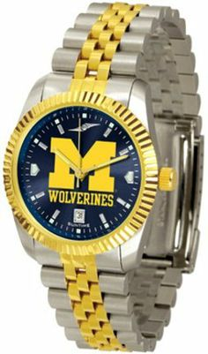 Michigan Wolverines Executive AnoChrome Men's Watch by SunTime. $154.10. The ultimate NCAA Michigan Wolverines fan's statement, our Executive timepiece offers men a classic, business-appropriate look. Features a 23KT gold-plated bezel, stainless steel case and date function. Secures to your wrist with a two-tone solid stainless steel band complete with safety clasp.The AnoChrome dial option increases the visual impact of any watch with a stunning radial reflection similar to tha...