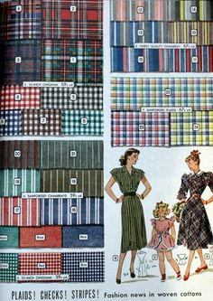 1940s Fabrics and Colors in Fashion: 1948 woven cottons in plaid, checks and stripes for spring.  #1940sfashion #vintage http://www.vintagedancer.com/1940s/1940s-fabrics-colors-fashion/