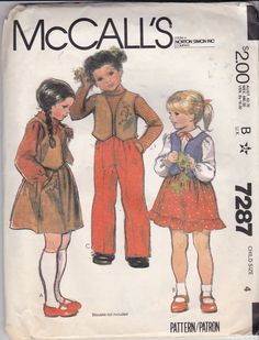 Vintage McCalls 7287 for Child's size 4 for skirts, vest, and pants patterns…