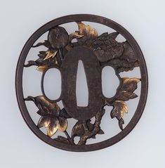 Tsuba with design of peonies. Japanese. Edo period. mid-19th century. Masayoshi (Japanese, dates unknown). Inaba School