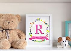 ♥ Personalised Floral Name Art Print ♥ Unframed Custom Initial and Name Artwork by Sweet Cheeks Images. $12.00 AUD