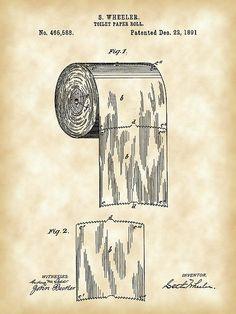 Patent Print of a Toilet Paper Roll Patent Art Print Patent Poster Bathroom Toilet Paper Patent, Toilet Paper Roll, Tom Y Jerry, Patent Drawing, Bathroom Art, Bathrooms, Patent Prints, Technical Drawing, Vintage Prints