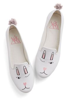 Ooh Bunny, Bunny Flat. Youre feeling positively peachy about your paramour today, so you slip on these bunny flats by YRU for your date! #white #modcloth