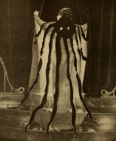 "On Surreal Sunday we all dress up in our finest octopus gowns to eat brunch and drink mimosas from octopus mugs. ""quatermasspitt Bebe Daniels wearing an octopus gown in ""The Affairs of Anatol"", directed by Cecil B. Harlem Renaissance, Mode Bizarre, Le Kraken, Fancy Dress, Dress Up, Bebe Daniels, Motif Art Deco, Pin Up, Octopus Art"