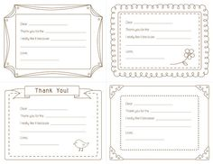 Thank You Note Template for Kids (Free | More Notes template, Free ...