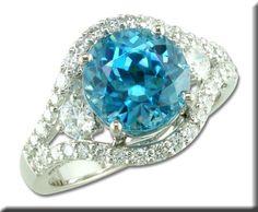18KW Blue Zircon and Diamond Ring