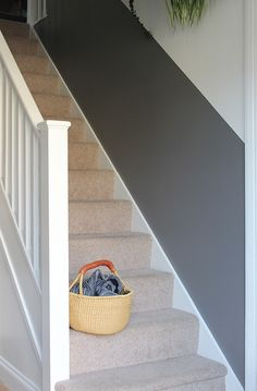 Will a half-painted stairway wall beat dirty hand marks and scuffs for good? Stairwell Wall, Hallway Paint, Stair Walls, Hallway Console, Tiled Hallway, Console Table, Half Painted Walls, Painted Stairs, Half Walls