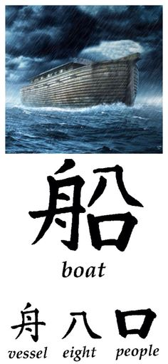 """""""In addition to the Bible, which clearly presents the Worldwide Flood as a factual event in which eight humans were saved on a floating Ark, every culture in the world has a flood story.  The very symbol in the ancient Chinese language for """"boat"""" is a combination of the symbols for """"eight,"""" """"people,"""" and """"vessel.""""  Every culture from Chinese to the Aztecs, Aborigines to he ancient Greeks, Eskimos to the Africans, have an ancient account of a universal Flood."""