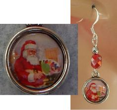 Silver Santa Claus Charm Drop/Dangle Earrings Handmade Jewelry Hook Christmas #Handmade #DropDangle