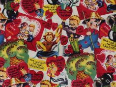 Vintage Valentine Fabric 1 Yard  Old Fashion Cards Retro Kids  raisedoncotton by sewclutteredclosets for $18.00