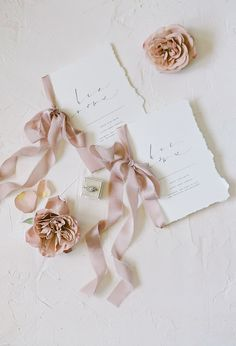 simple wedding invitation with ribbons
