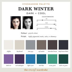 the concept wardrobe | Eyeshadow Palette for Dark Winter. This article is a comprehensive guide to the Dark Winter make-up palette. Dark Winter is the combination of dark and cool in the seasonal colour analysis. Find out which make-up colours look best on the darkest of the 12 seasonal types.