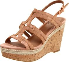 Lucky Women's Keena Wedge Sandal,Rose/Gold,10 M US This shoes / sandals / boots style name or model number is Keena. Color: Rosegold. Material: Leather. Measurements: 3.75 heel. Width: M.  #LuckyBrand #Shoes