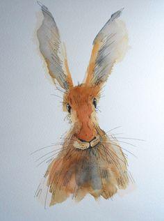 Jake the Hare  original watercolour hare by HaresAndHerdwicks, £35.00