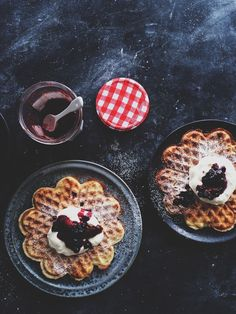 waffles with wipped cream.
