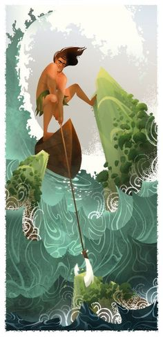 Moana - The person who is with Moana is the demigod Maui Maori pantheon.  He had already been created by a Disney artist, the talented Brittney Lee, for his personal work.