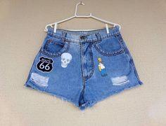 jeans com patches - short sem marca