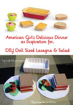 Girl no-sew dress Easy to Make Doll Sized Lasagna & Salad for your American Girl dollsEasy to Make Doll Sized Lasagna & Salad for your American Girl dolls American Girl Food, Ropa American Girl, My American Girl Doll, American Girl Crafts, American Girl Clothes, Ag Doll Crafts, Diy Doll, American Girl Accessories, Doll Accessories