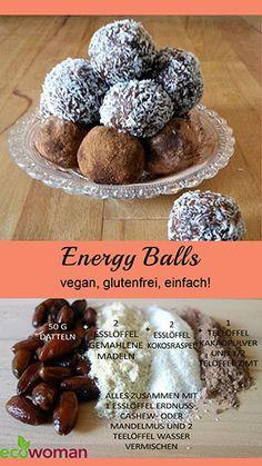 Gesunder Snack ohne schlechtes Gewissen! Vegan, gluten- und zuckerfreie Energy-Balls!