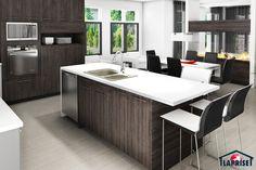 Designer, Zen / Contemporain | LAP0528 | Maison Laprise - Maisons pré-usinées Prefabricated Houses, House Architecture, House 2, Model Homes, Beautiful Sunset, Decks, Contemporary Design, Design Design, Bungalow