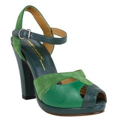 Come one, come all! Step right up and try the oh-so-vintage green Re-Mix Carnival 3 Heels!