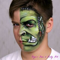 Warcraft Orc makeup for boys. This design was created in 2016. Would you like to learn it? You will find out how to apply shades and build up a creative face painting design.⚡ Watch the full tutorial on my YouTube Channel: International Face Painting School